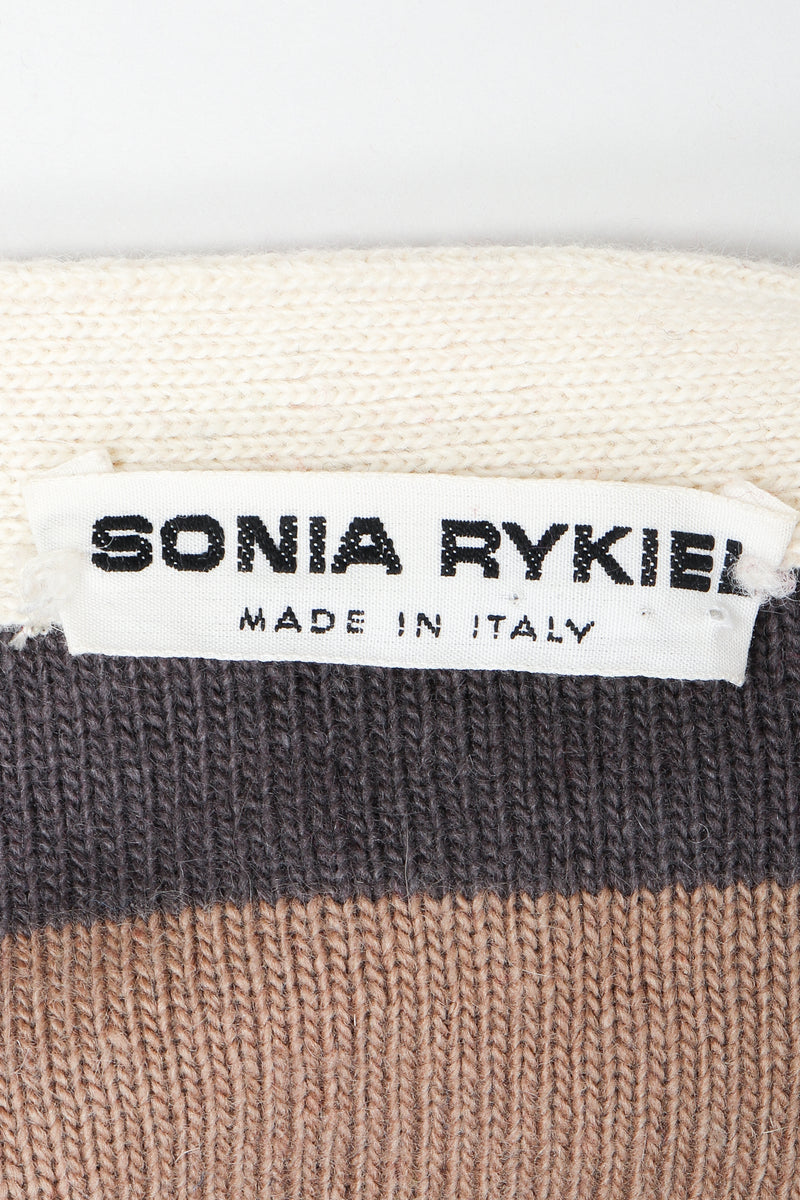 Vintage Sonia Rykiel label on brown and cream knit