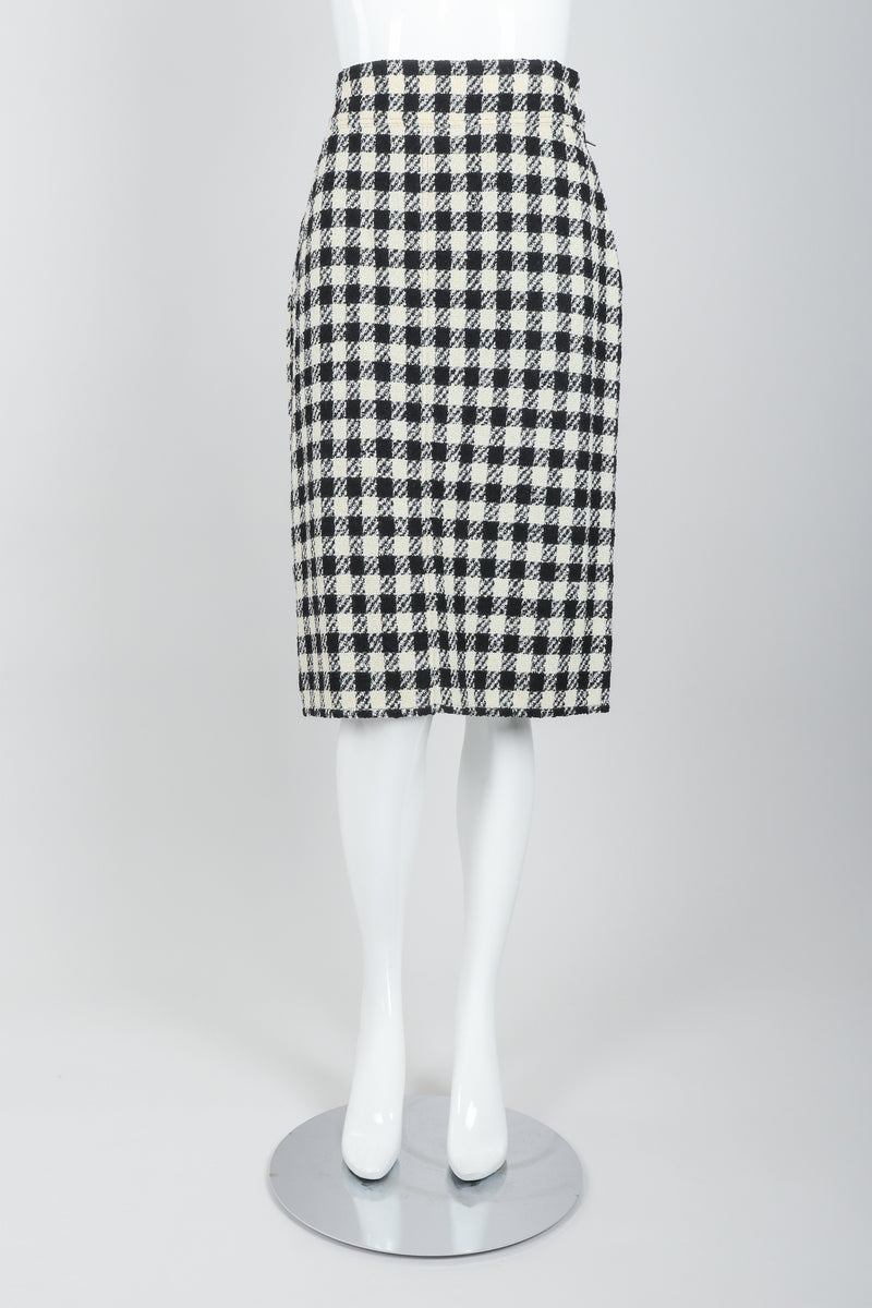 Vintage Sonia Rykiel Bouclé Buffalo Check Skirt Set on mannequin front at Recess