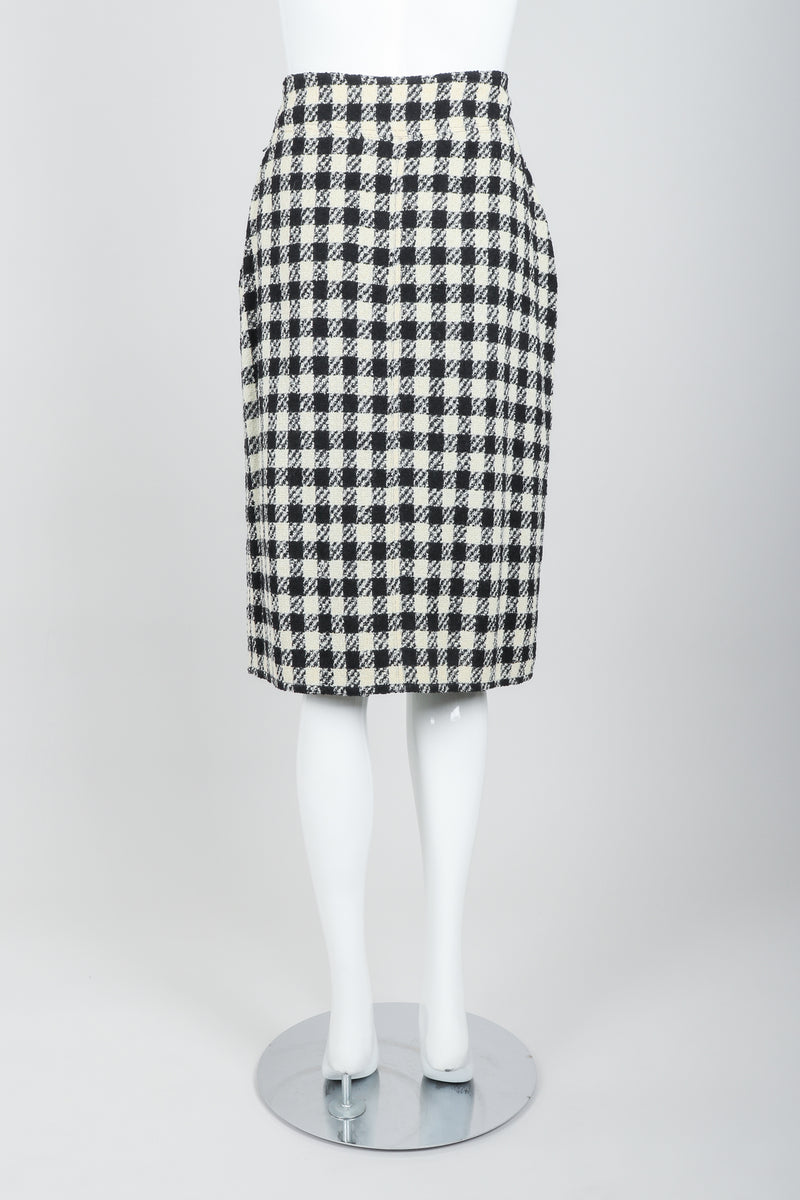 Vintage Sonia Rykiel Bouclé Buffalo Check Skirt Set on mannequin back at Recess