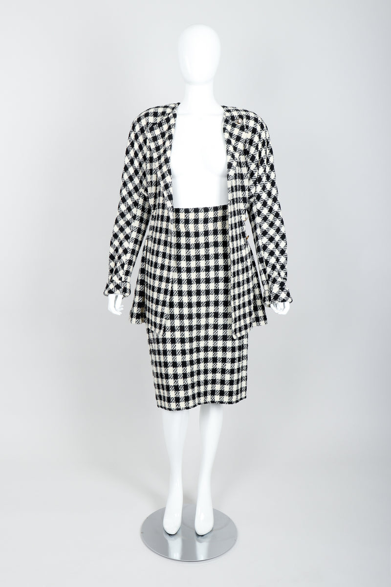 Vintage Sonia Rykiel Bouclé Buffalo Check Jacket & Skirt Set on mannequin open at Recess