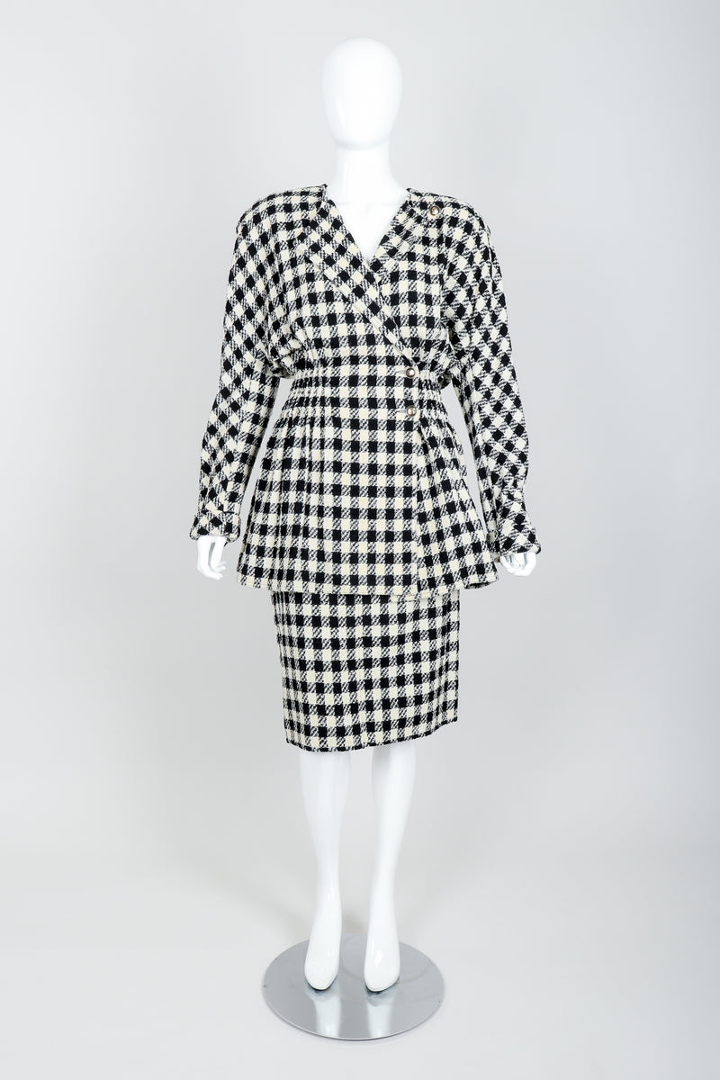 Vintage Sonia Rykiel Bouclé Buffalo Check Jacket & Skirt Set on mannequin front at Recess