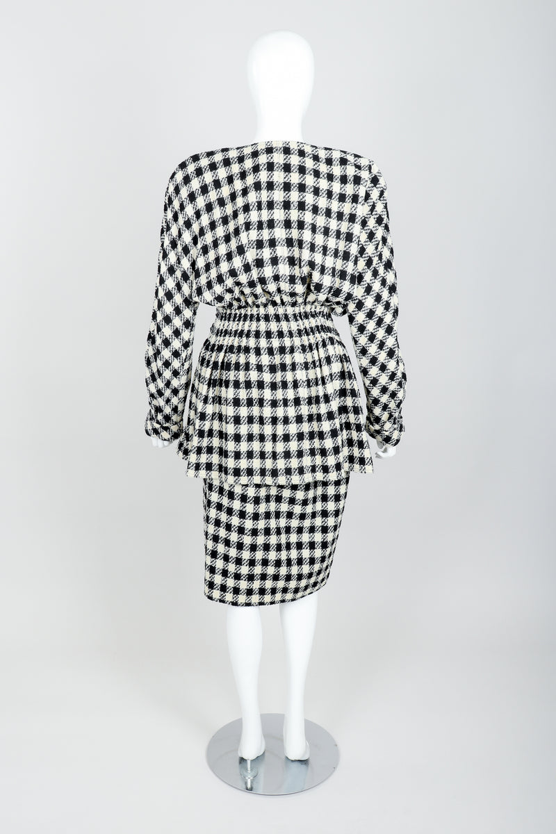 Vintage Sonia Rykiel Bouclé Buffalo Check Jacket & Skirt Set on mannequin back at Recess
