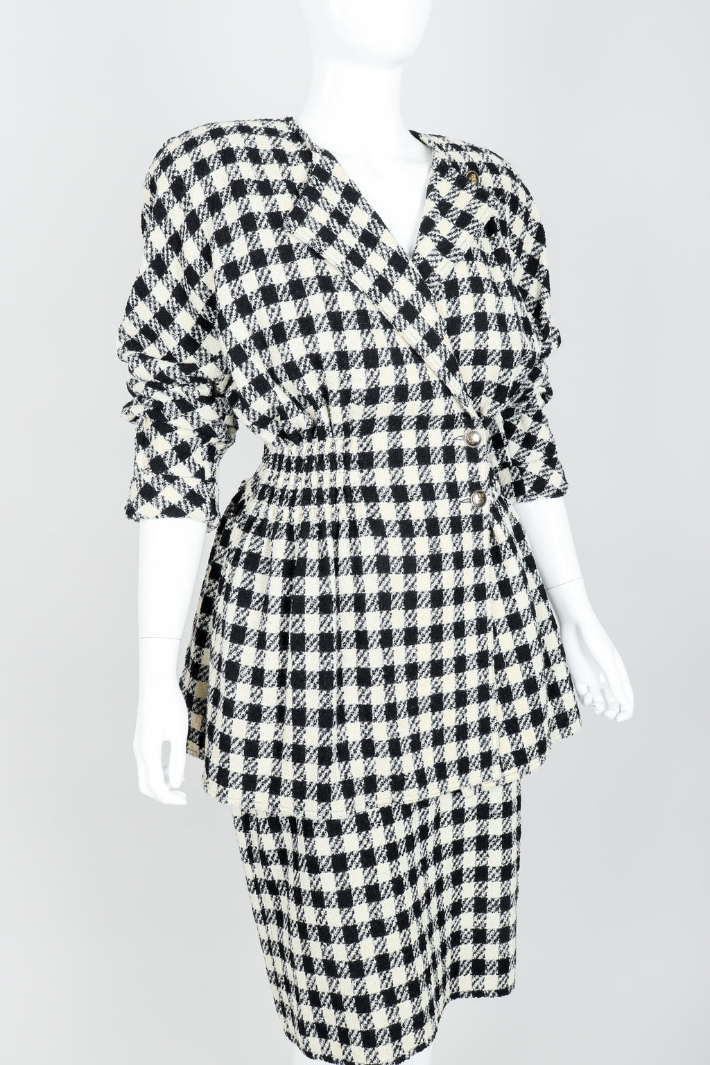 Vintage Sonia Rykiel Bouclé Buffalo Check Jacket & Skirt Set on mannequin crop angle at Recess