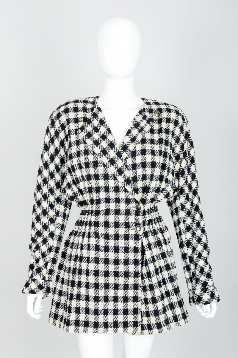 Vintage Sonia Rykiel Bouclé Buffalo Check Jacket Set on mannequin front at Recess