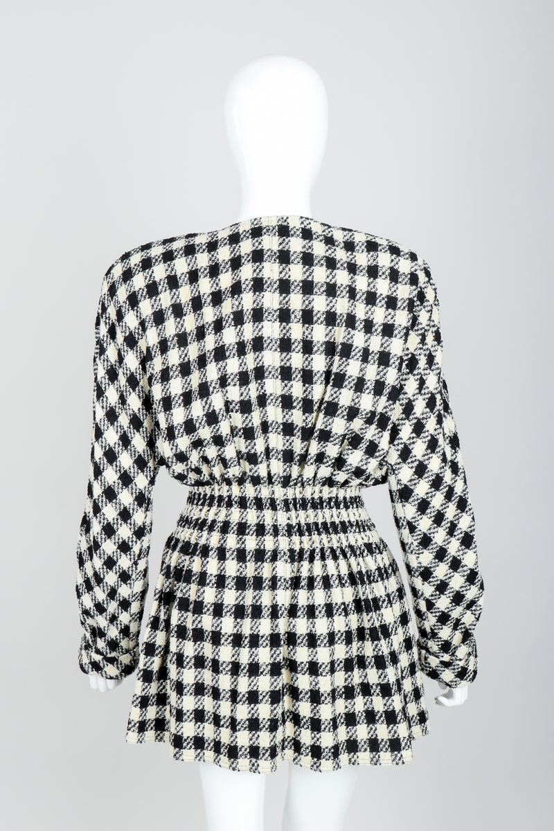 Vintage Sonia Rykiel Bouclé Buffalo Check Jacket Set on mannequin back at Recess