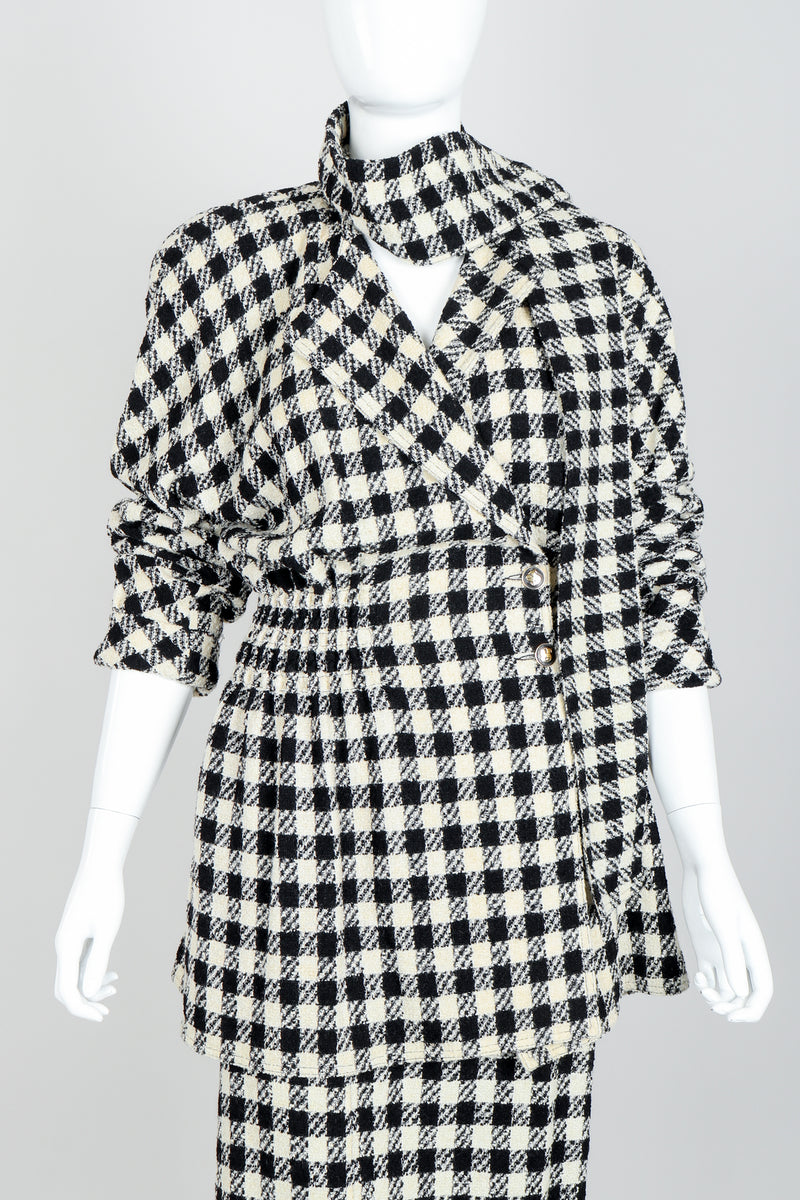 Vintage Sonia Rykiel Bouclé Buffalo Check Jacket & Skirt Set on mannequin front crop at Recess