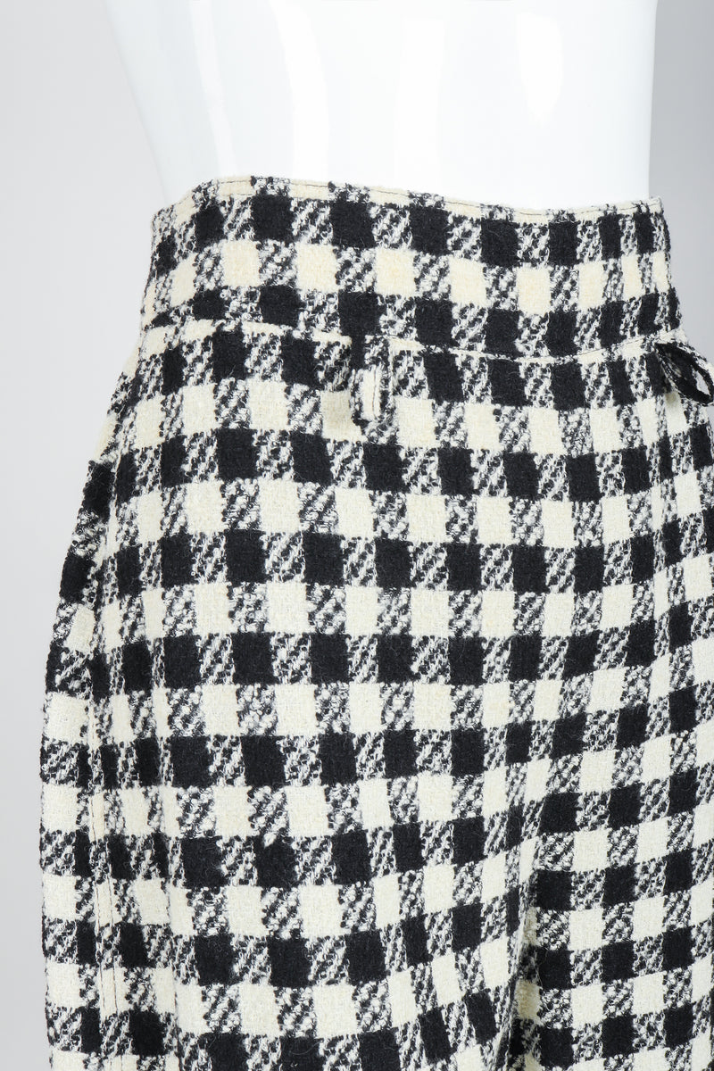 Vintage Sonia Rykiel Bouclé Checked Shorts on Mannequin waist detail