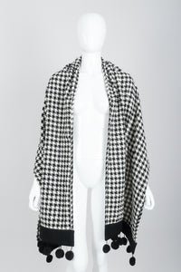 Vintage Sonia Rykiel Bouclé Houndstooth Pom Pom Shawl on Mannequin at Recess