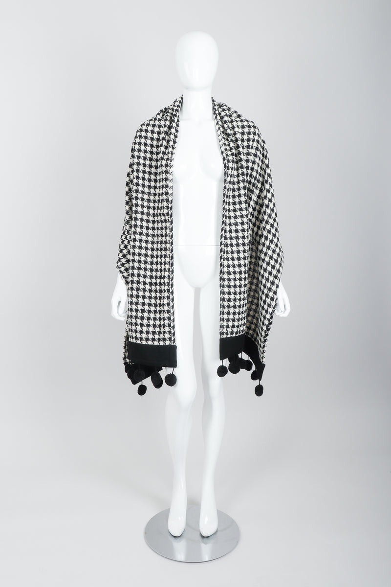 Vintage Sonia Rykiel Bouclé Houndstooth Pom Pom Shawl on Mannequin front at Recess
