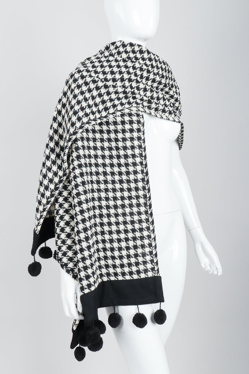 Vintage Sonia Rykiel Bouclé Houndstooth Pom Pom Shawl on Mannequin wrapped at Recess