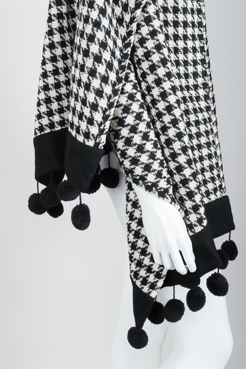 Vintage Sonia Rykiel Bouclé Houndstooth Pom Pom Shawl on Mannequin pom detail at Recess