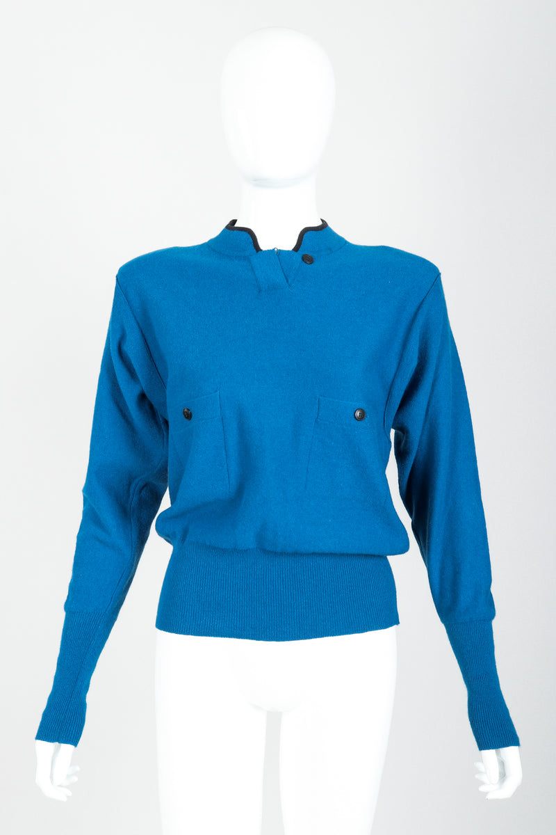 Vintage Sonia Rykiel Blue Knit High Neck Sweater on Mannequin front at Recess