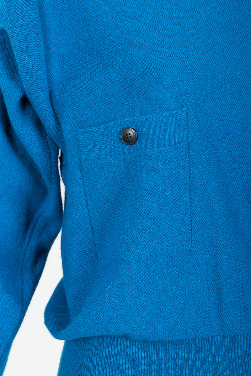 Vintage Sonia Rykiel Blue Knit High Neck Sweater chest pocket detail