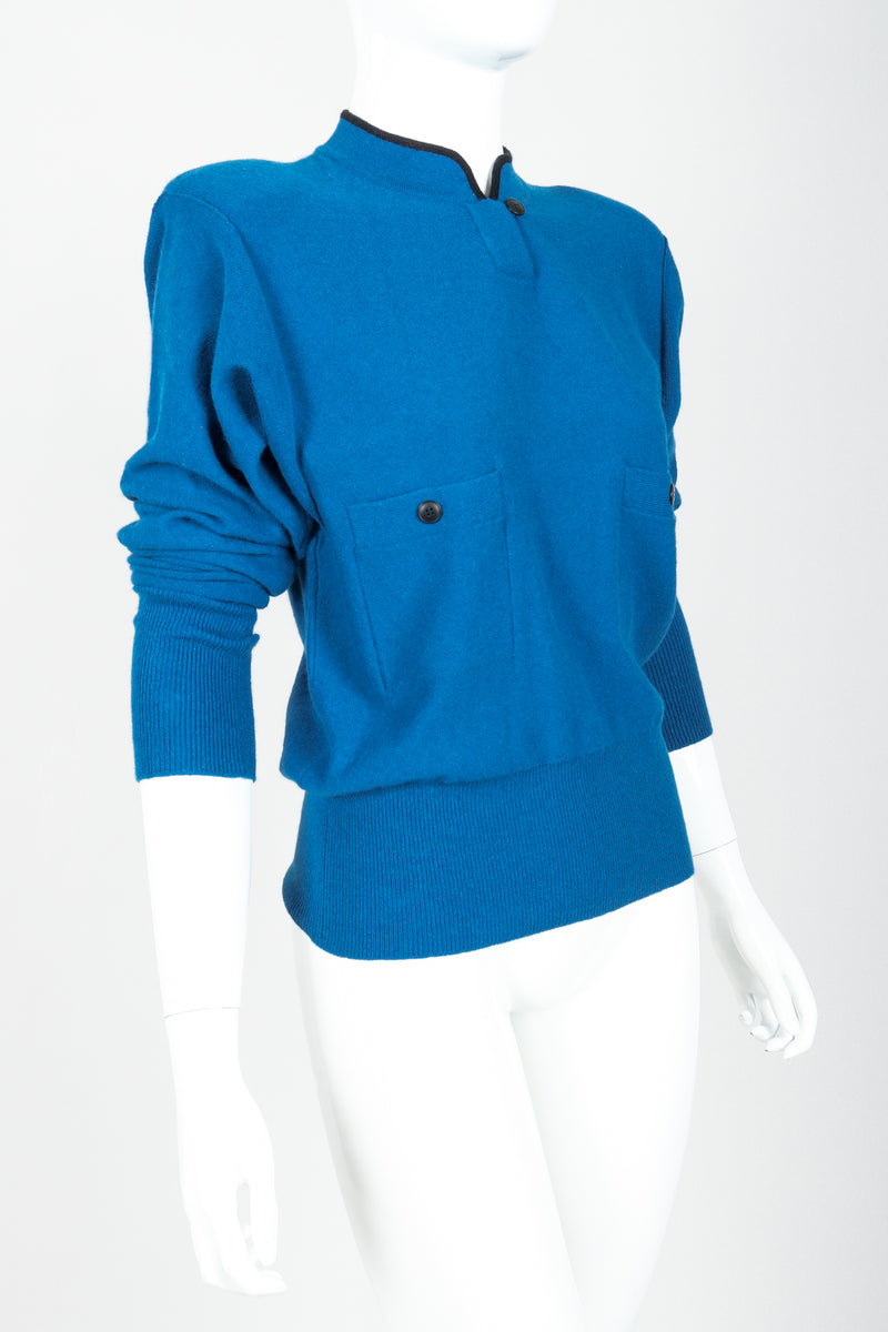 Vintage Sonia Rykiel Blue Knit High Neck Sweater on Mannequin angled at Recess