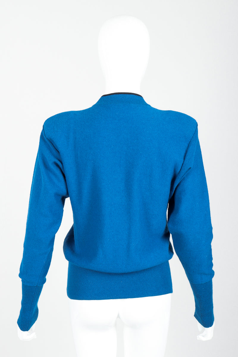 Vintage Sonia Rykiel Blue Knit High Neck Sweater on Mannequin back at Recess