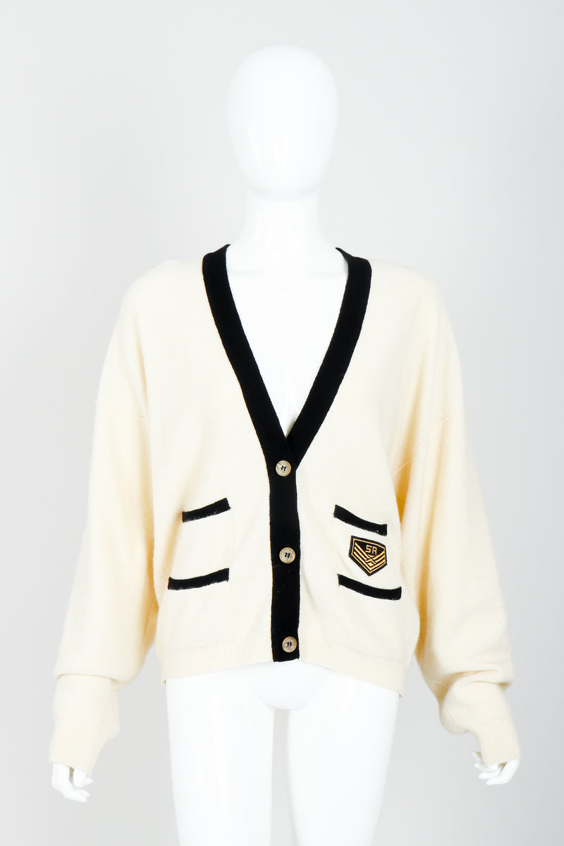 Vintage Sonia Rykiel Cream Knit Letterman Cardigan on Mannequin front at Recess