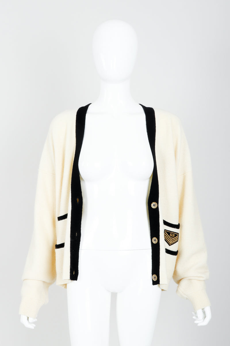 Vintage Sonia Rykiel Cream Knit Letterman Cardigan on Mannequin open at Recess