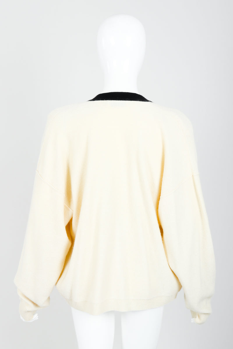 Vintage Sonia Rykiel Cream Knit Letterman Cardigan on Mannequin back at Recess