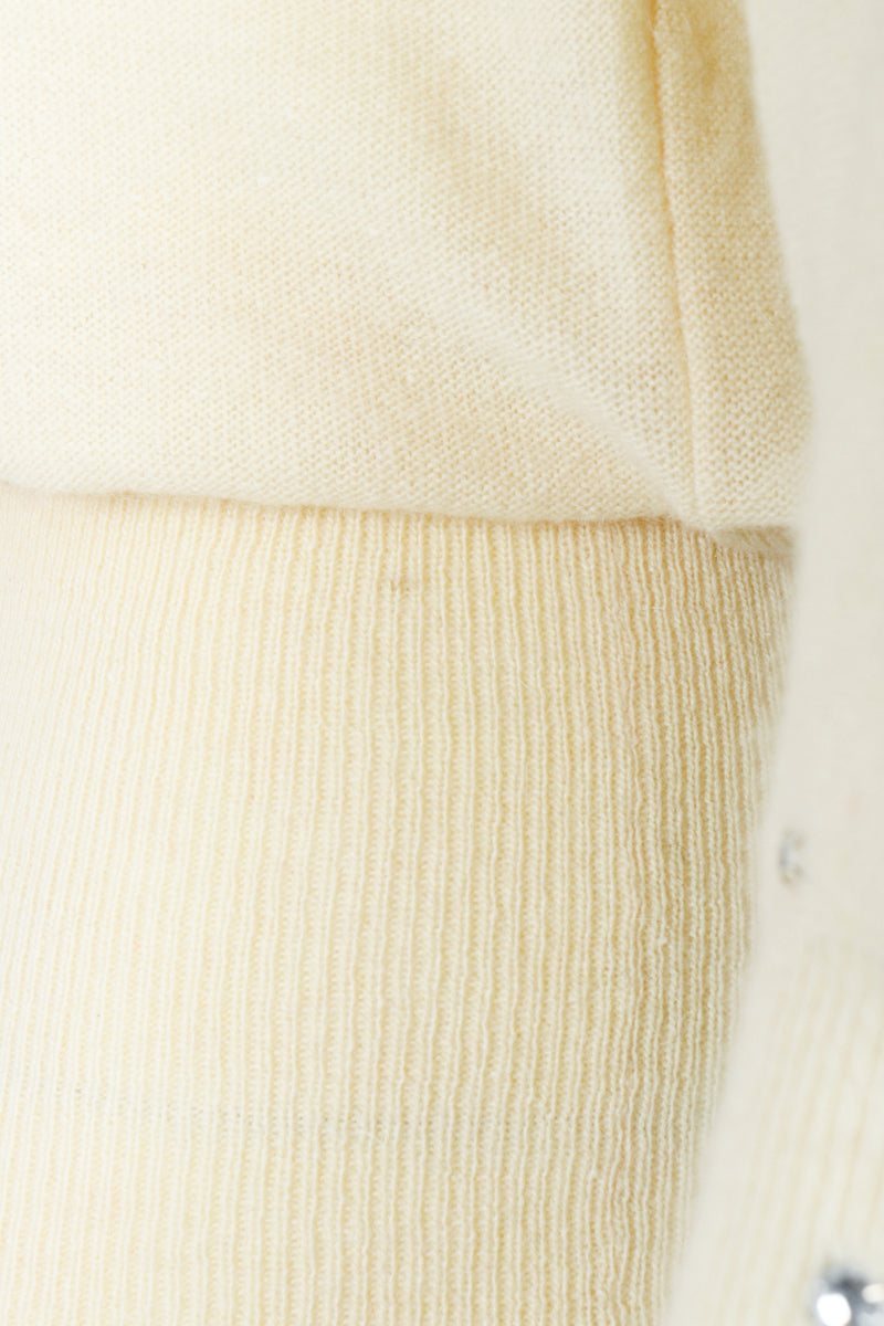 Vintage Sonia Rykiel Cream Knit Bow Sweater stain at L waist