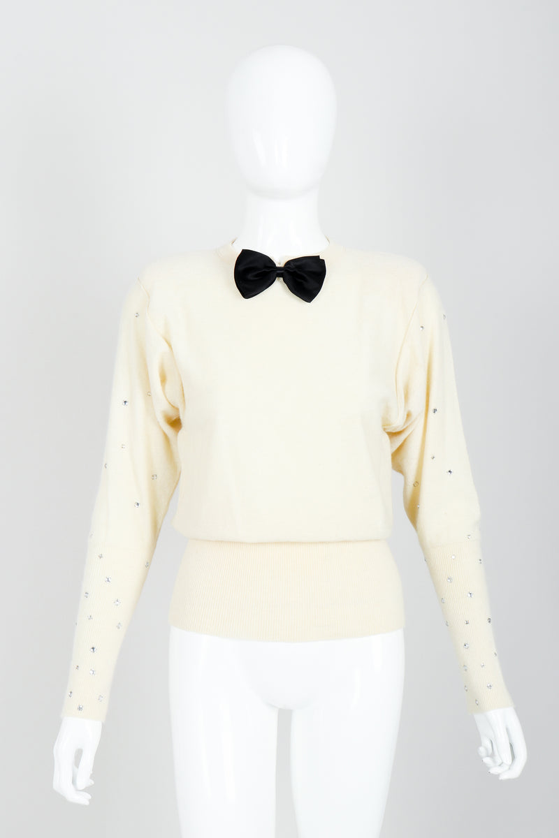 Vintage Sonia Rykiel Cream Knit Bow Tie Sweater on Mannequin front At Recess
