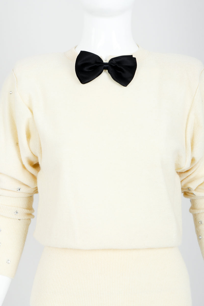 Vintage Sonia Rykiel Cream Knit Bow Tie Sweater on Mannequin bow detail At Recess
