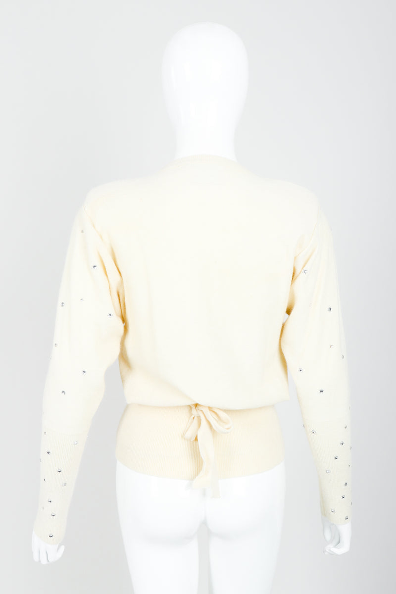 Vintage Sonia Rykiel Cream Knit Bow Tie Sweater on Mannequin back At Recess