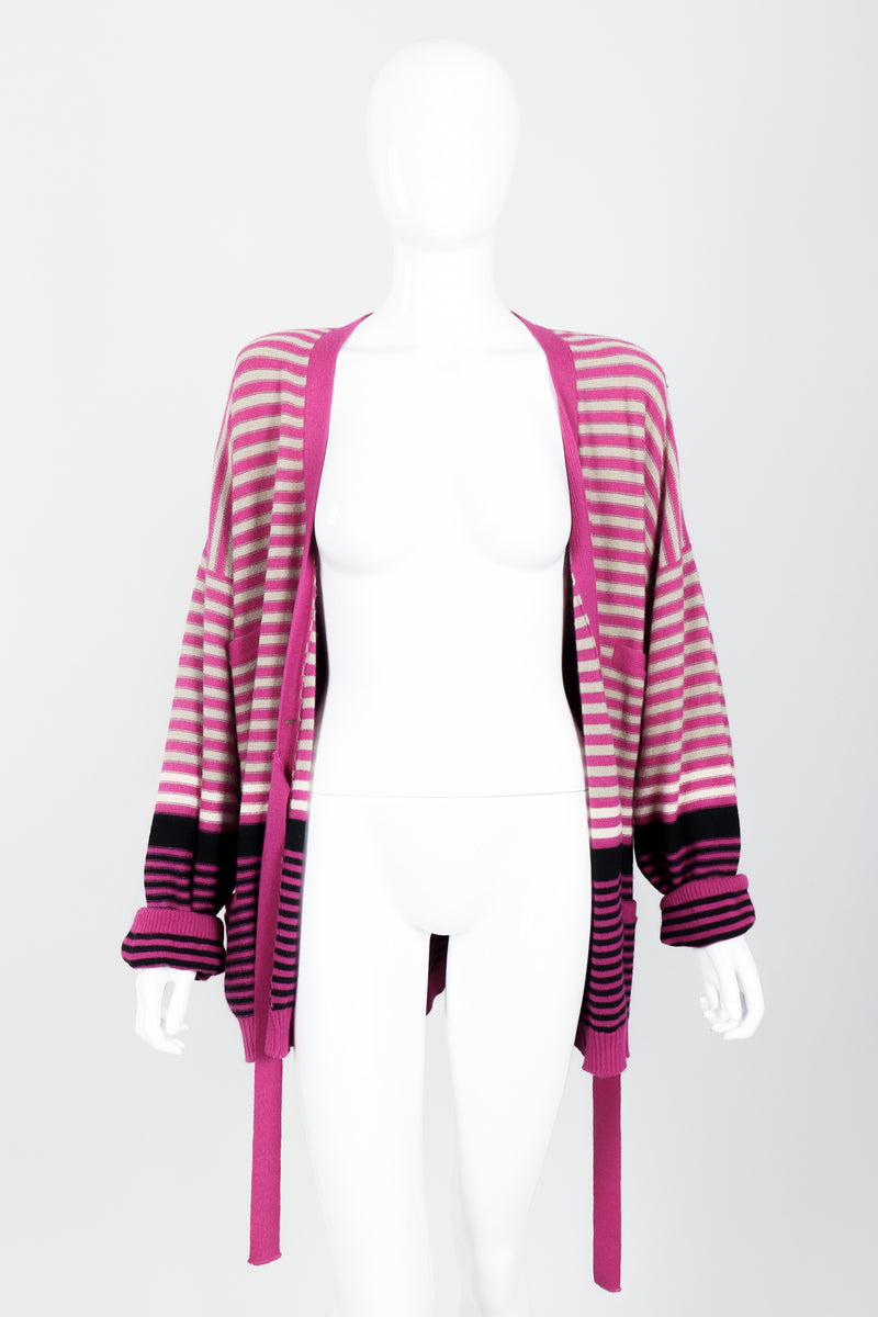 Vintage Sonia Rykiel Fuchsia Stripe Boyfriend Cardigan on Mannequin open at Recess