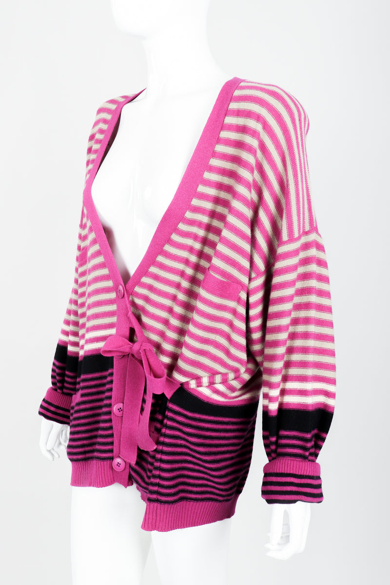 Vintage Sonia Rykiel Fuchsia Stripe Boyfriend Cardigan on Mannequin Side tie at Recess