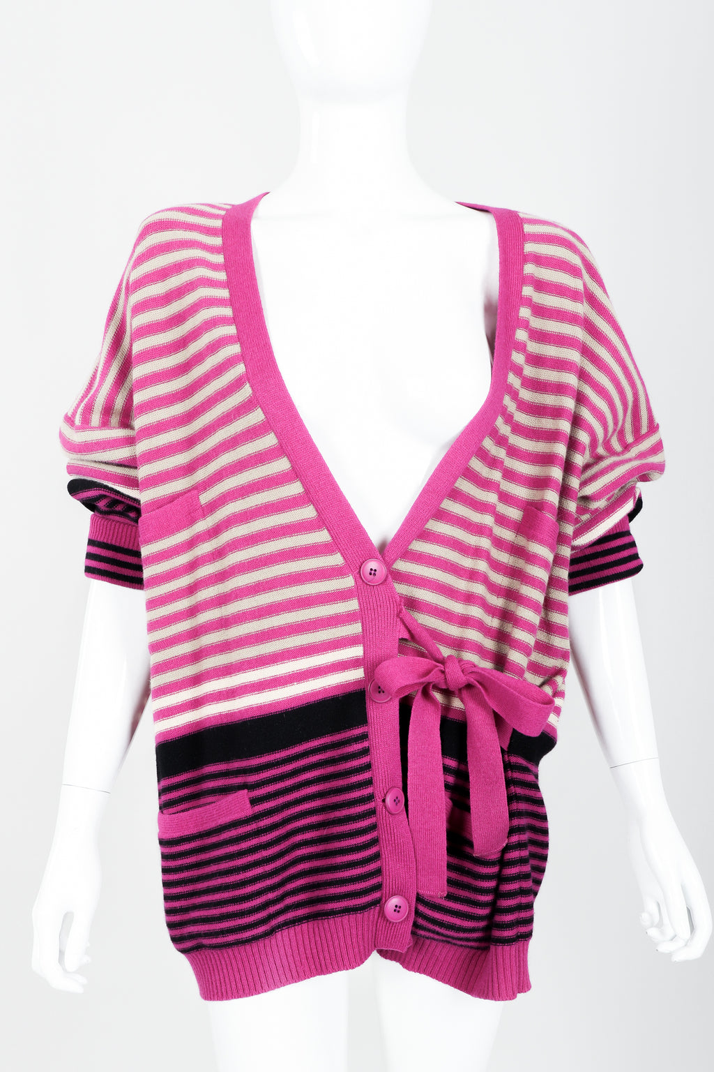 Vintage Sonia Rykiel Fuchsia Stripe Boyfriend Cardigan on Mannequin front at Recess