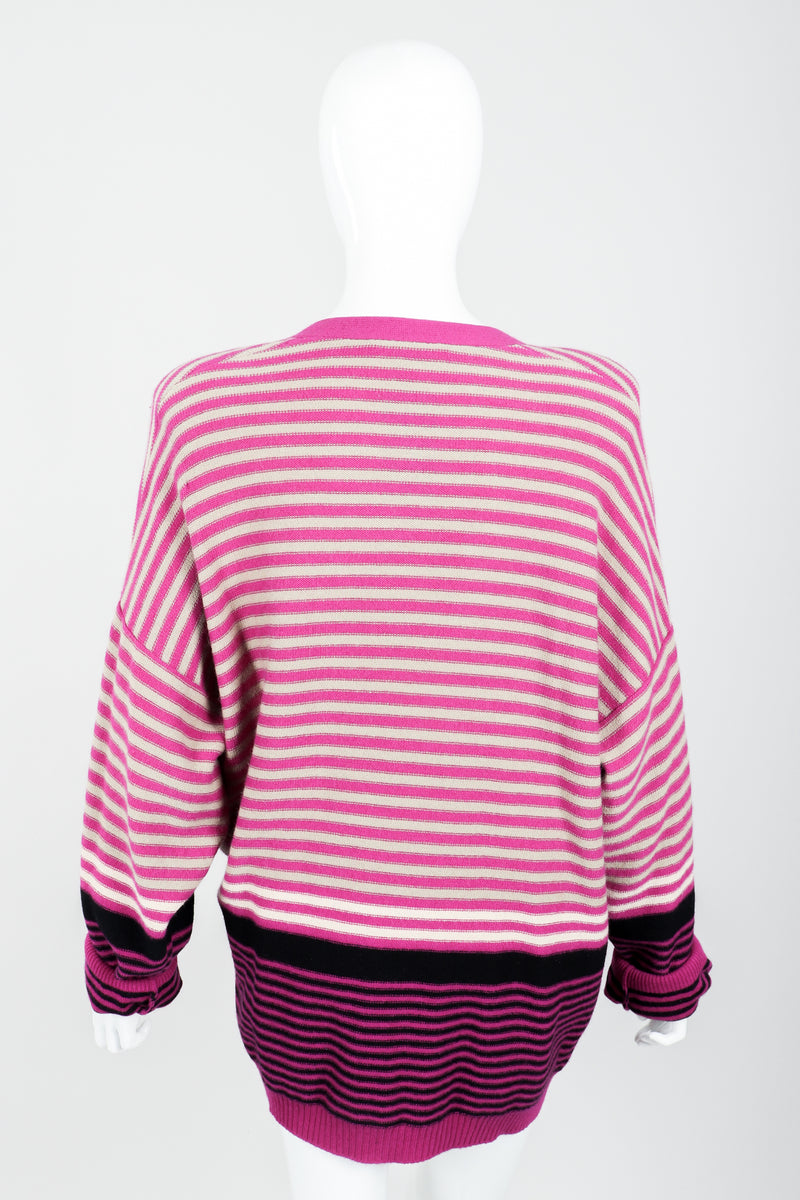 Vintage Sonia Rykiel Fuchsia Stripe Boyfriend Cardigan on Mannequin back at Recess