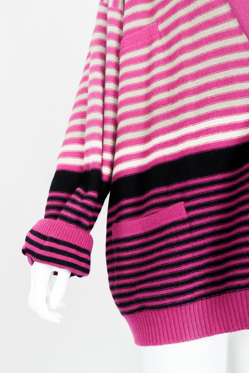 Vintage Sonia Rykiel Fuchsia Stripe Boyfriend Cardigan on Mannequin Sleeve at Recess