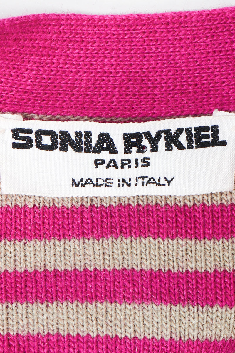 Vintage Sonia Rykiel label on fuchsia stripe