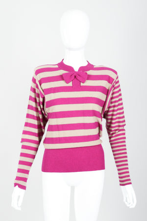 Vintage Sonia Rykiel Fuchsia Stripe Bow Sweater on Mannequin Front at Recess