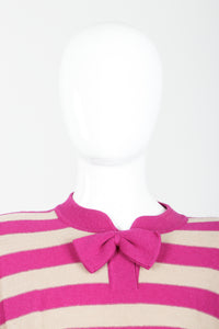 Vintage Sonia Rykiel Fuchsia Stripe Bow Sweater on Mannequin neck detail at Recess