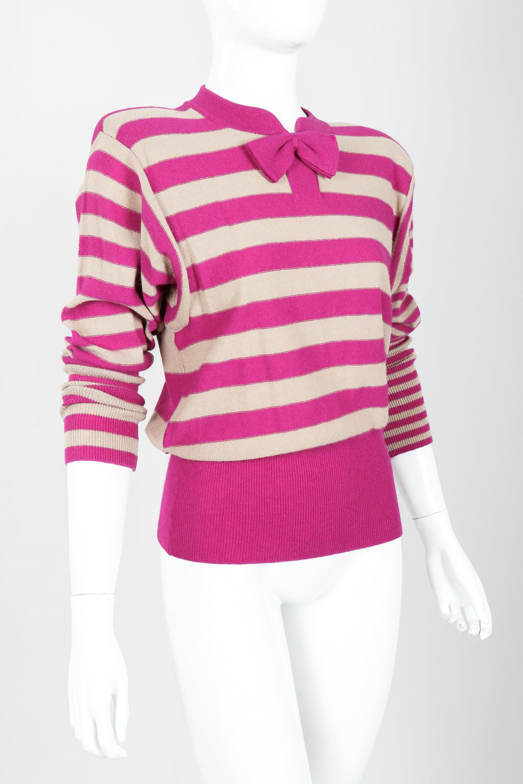 Vintage Sonia Rykiel Fuchsia Stripe Bow Sweater on Mannequin angled at Recess