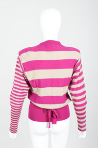 Vintage Sonia Rykiel Fuchsia Stripe Bow Sweater on Mannequin back at Recess