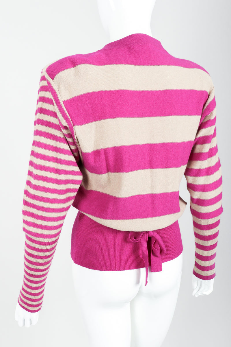 Vintage Sonia Rykiel Fuchsia Stripe Bow Sweater on Mannequin back angle at Recess