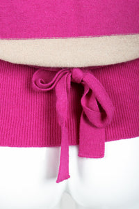Vintage Sonia Rykiel Fuchsia Stripe Bow Sweater on Mannequin back tie at Recess