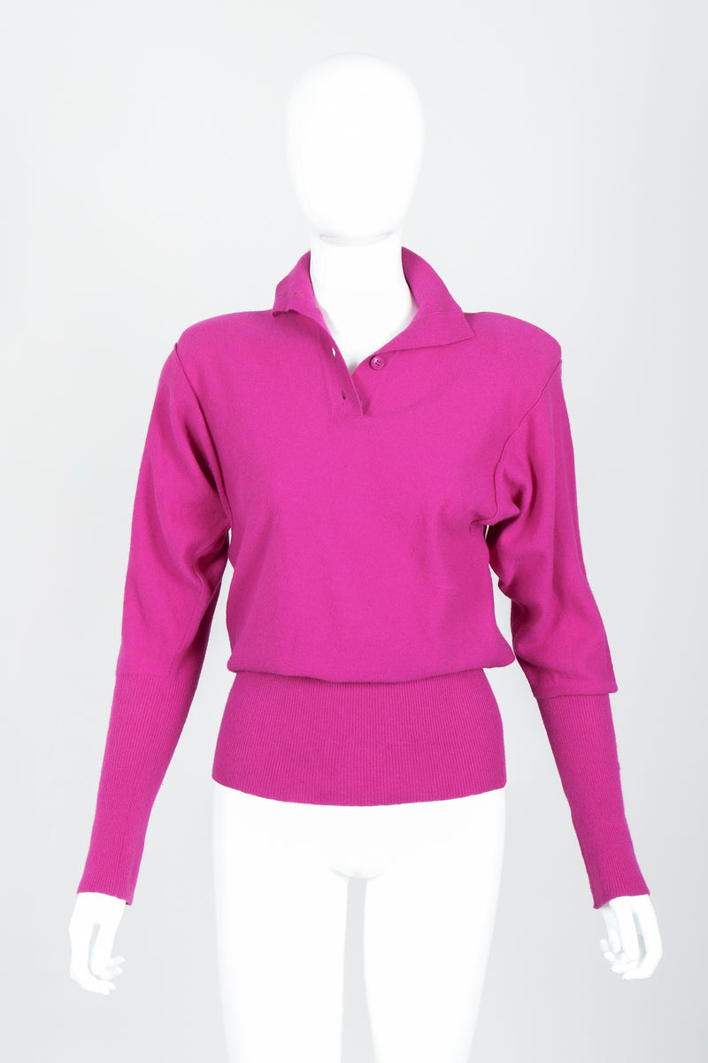 Vintage Sonia Rykiel Magenta Knit Popover Sweater on Mannequin Front at Recess