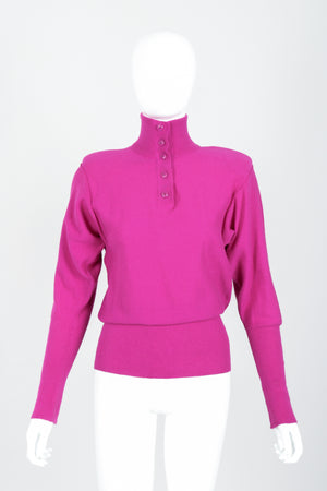 Vintage Sonia Rykiel Magenta Knit Popover Sweater on Mannequin Front Buttoned at Recess