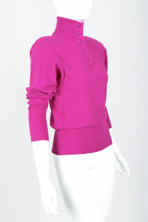 Vintage Sonia Rykiel Magenta Knit Popover Sweater on Mannequin Crop at Recess