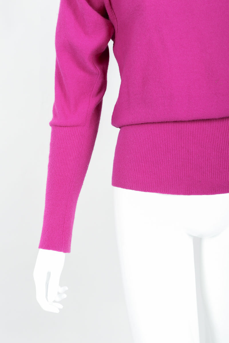 Vintage Sonia Rykiel Magenta Knit Popover Sweater on Mannequin Cuffs and Hem at Recess
