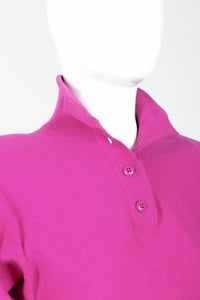 Vintage Sonia Rykiel Magenta Knit Popover Sweater on Mannequin Open Neck at Recess
