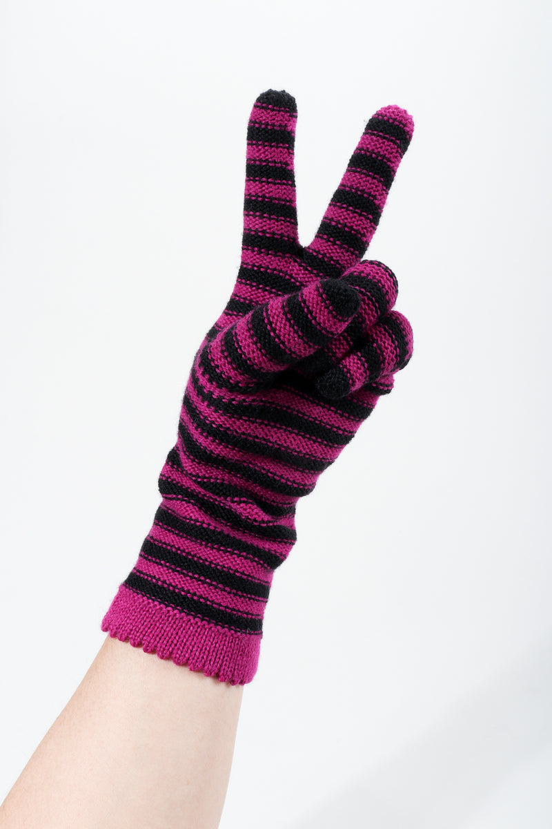 Vintage Sonia Rykiel Fuchsia Stripe Knit Gloves on hand peace