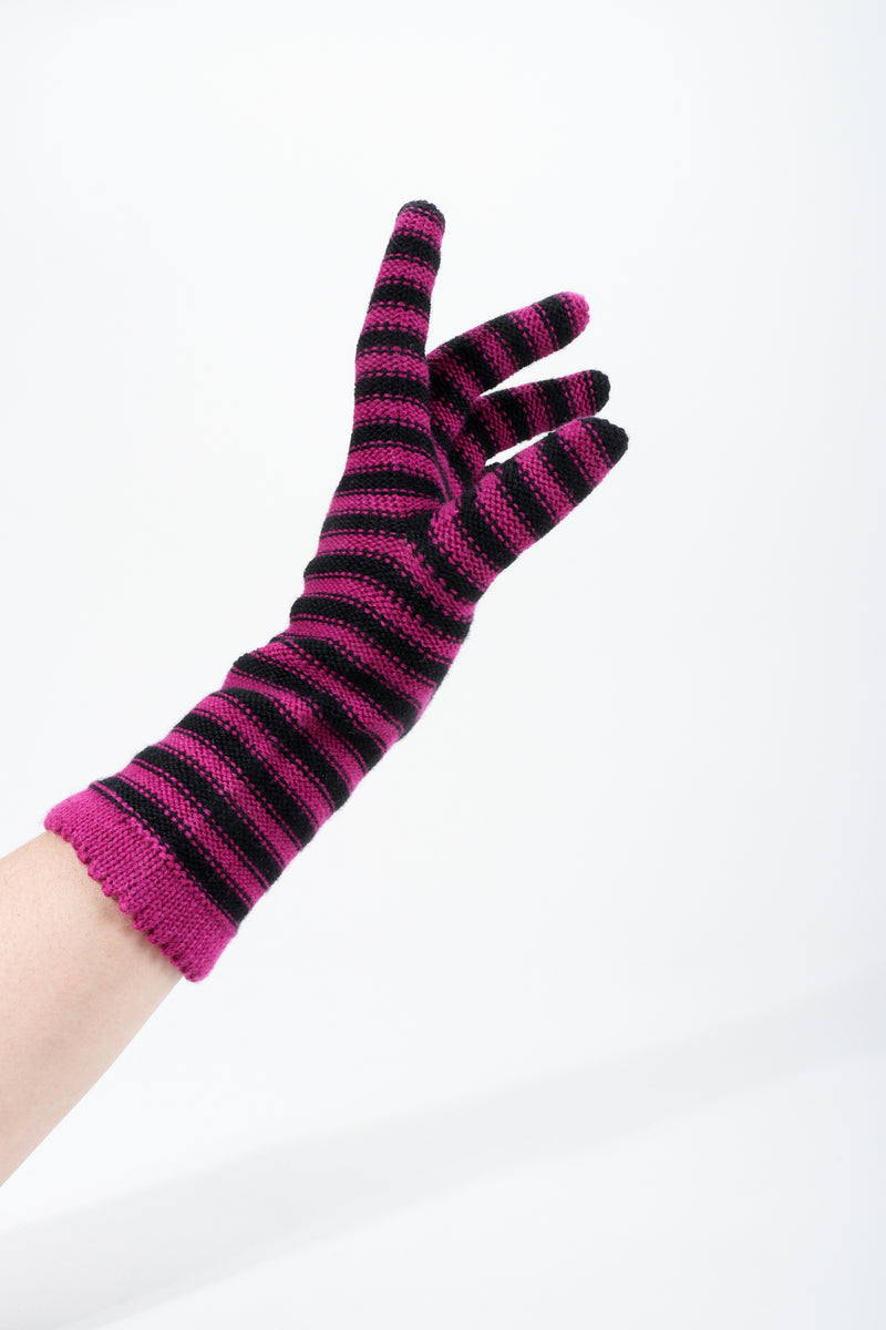 Vintage Sonia Rykiel Fuchsia Stripe Knit Gloves on hand pointed