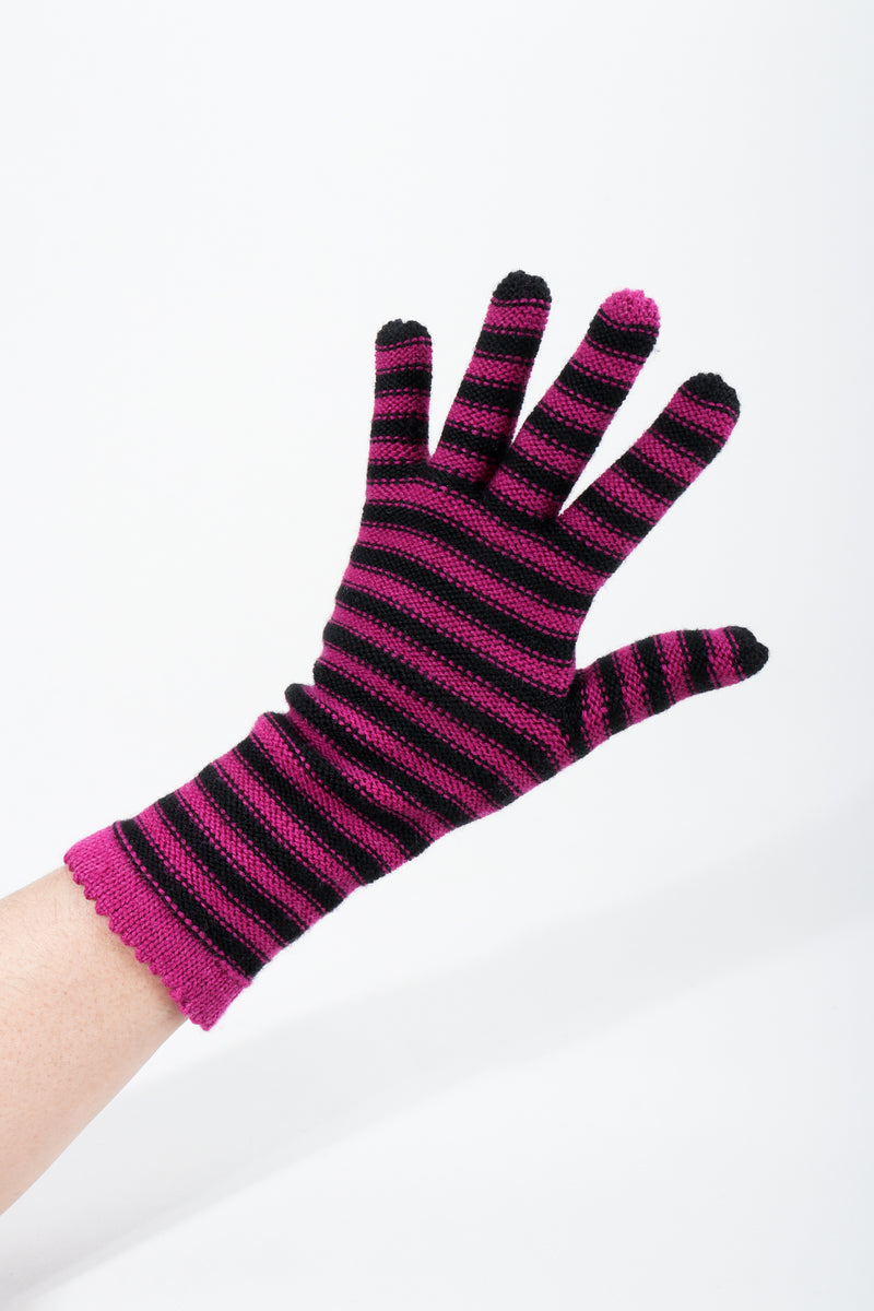 Vintage Sonia Rykiel Fuchsia Stripe Knit Gloves on hand extended