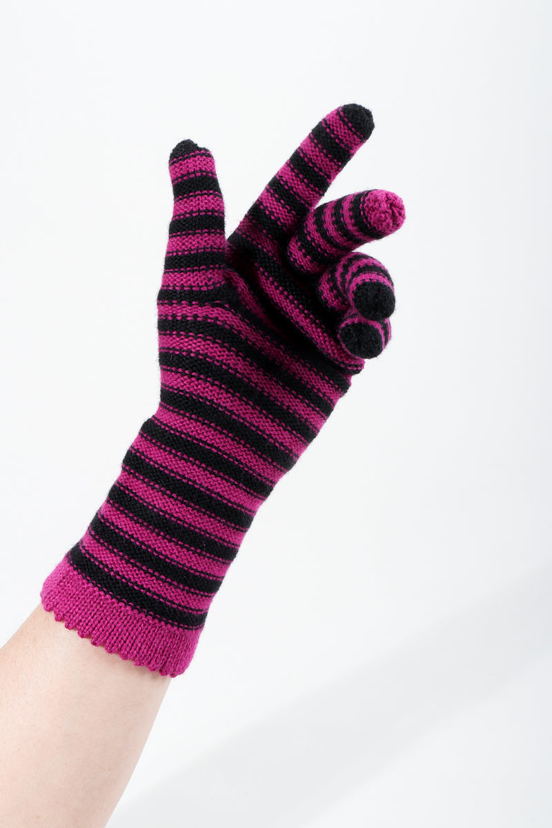 Vintage Sonia Rykiel Fuchsia Stripe Knit Gloves on hand curled