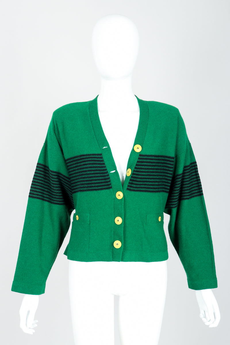 Vintage Sonia Rykiel Green Collegiate Cardigan Set on Mannequin Front at Recess