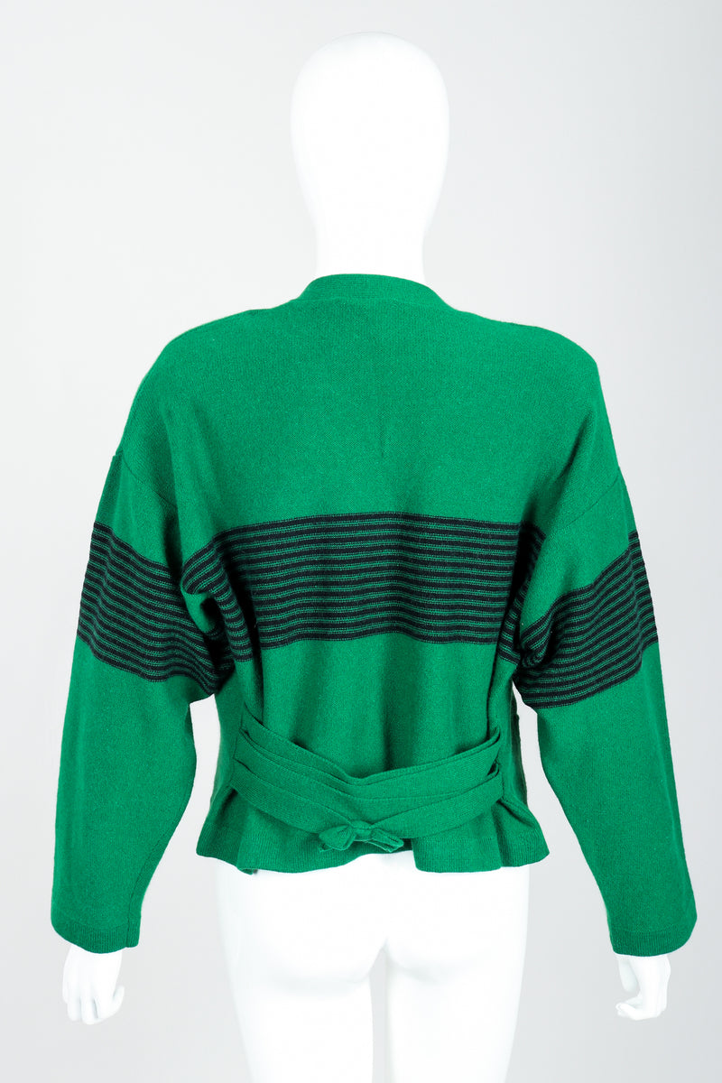 Vintage Sonia Rykiel Green Collegiate Cardigan Set on Mannequin Back at Recess