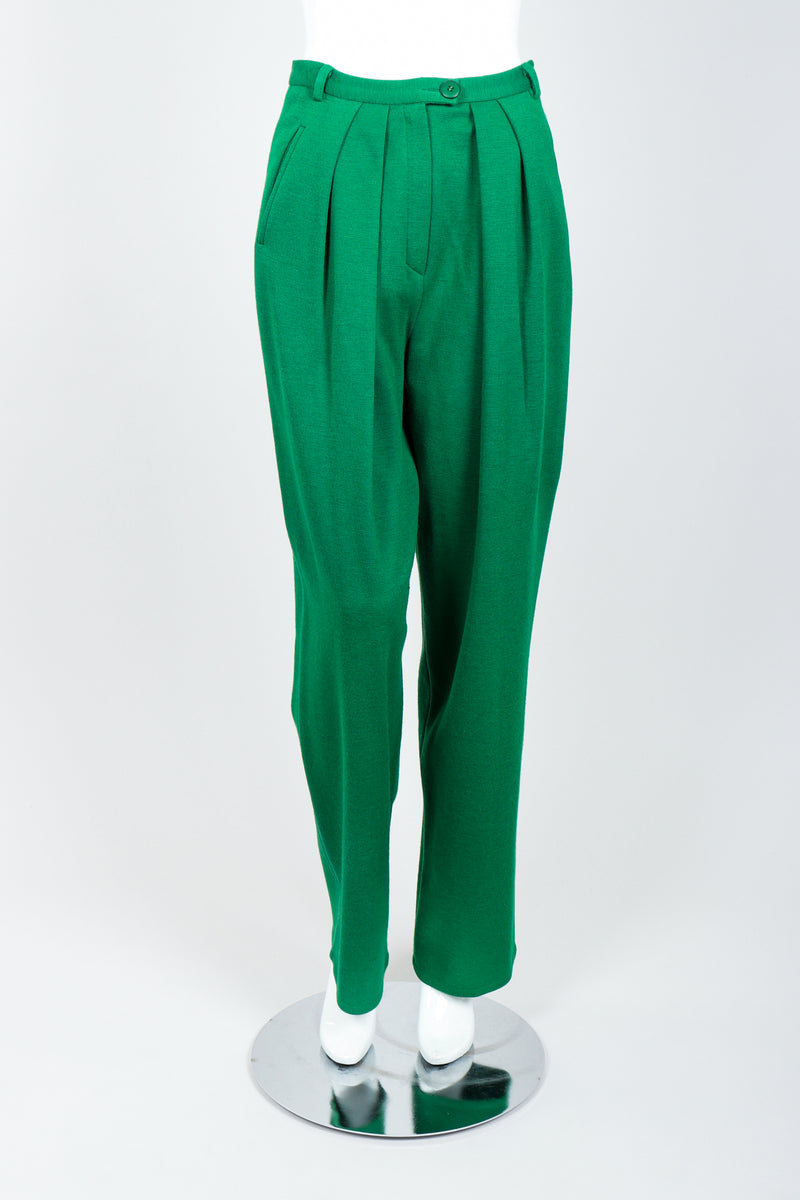 Vintage Sonia Rykiel Green Collegiate Knit Pant Set on Mannequin Front at Recess